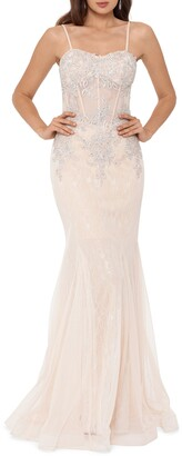 Xscape Evenings Crystal Beaded Embroidered Lace Mermaid Gown