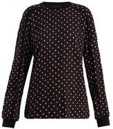 Haider Ackermann Polka-dot Print Pleated Chiffon Sweatshirt - Womens - Black White