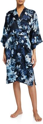 Samantha Chang Floral-Print Classic Silk Kimono Robe