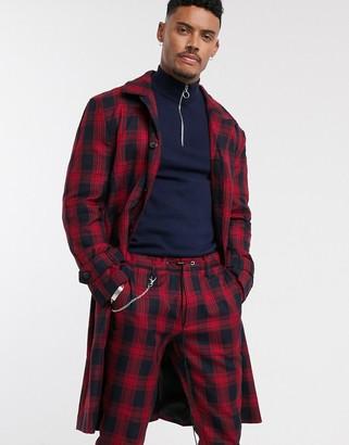 Night Addict checked longline overcoat