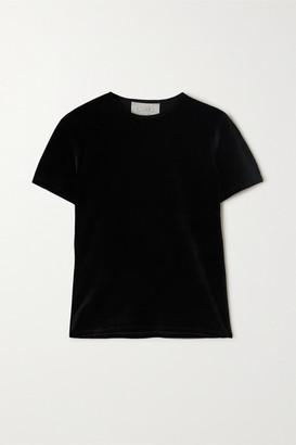 CALÉ Nina Stretch-velour T-shirt - Black