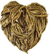 Tiffany & Co. 18K Leaf Motif Heart Brooch