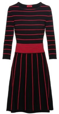 HUGO Knitted dress with pop-colour details and flared skirt