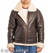 A to Z Leather Mens Brown Aviator B3 Sheepskin Pilot WW2 Flying Jacket With Cream Fur