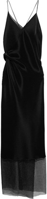 Roland Mouret Captiva Open-back Lace-paneled Plisse-jersey Maxi Slip Dress