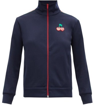 Gucci Cherry-embroidered Pique Track Jacket - Navy