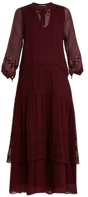 Jupe By Jackie - Vesuvius Embroidered Silk Chiffon Dress - Womens - Burgundy Multi