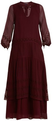 Jupe By Jackie Vesuvius Embroidered Silk-chiffon Dress - Burgundy Multi