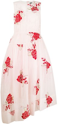 Simone Rocha Rose-Embroidered Tulle-Layer Dress