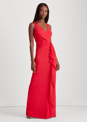 Ralph Lauren Ruffle-Trim Georgette Gown