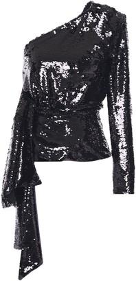 16Arlington One-shoulder Draped Sequined Crepe Top