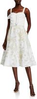 Marchesa Sleeveless Draped Satin Embroidered Skirt Dress