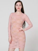 American Apparel Stretch Floral Lace Long Sleeve Mini Dress