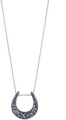 Alexis Bittar Noir Dust Horseshoe Pendant Necklace