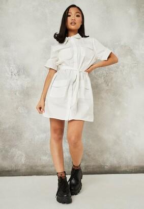 Missguided White Utility Pocket Shirt Dress