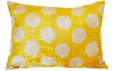 Orientalist Home Dot 16x24 Silk-Blend Pillow, Yellow