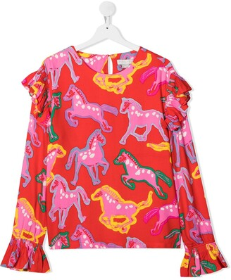 Stella Mccartney Kids TEEN horse-print long-sleeve T-shirt
