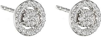Astley Clarke Mini Icon Aura 14ct white gold and diamond stud earrings, Women's, white