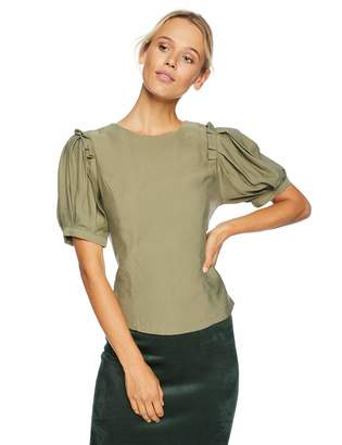 J.o.a. Women's Open Back Lace Up Top with Short Puff Sleeves
