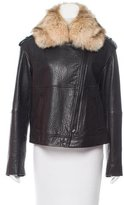 Vince Fur-Trimmed Leather Jacket