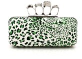 TopTie Leopard Print Faux Leather Handbag, Skull Rings Clutch Purse
