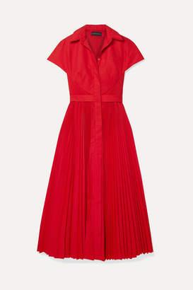 Brandon Maxwell Cape-effect Pleated Poplin Midi Dress - Red