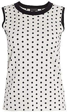 Saks Fifth Avenue Women's COLLECTION Silk & Cashmere Polka Dot Jacquard Top