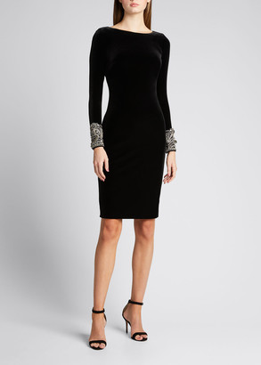 Badgley Mischka Pearl-Cuff Velvet Sheath Dress