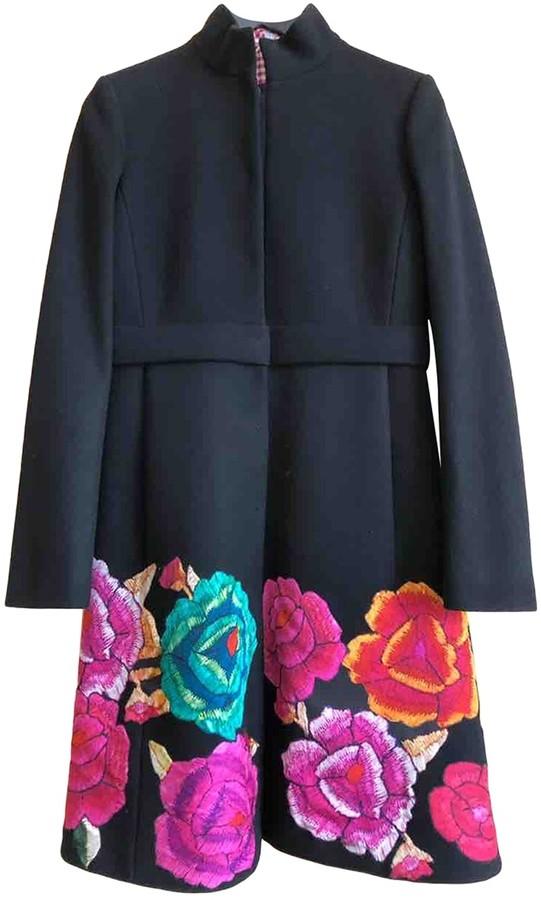 Roberto Cavalli Black Wool Coat for Women Vintage
