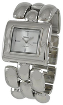 Geneva Platinum Silver Rectangular-Case Three-Row Bracelet Watch