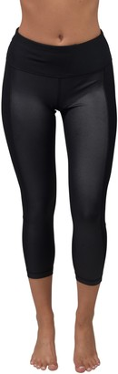 90 Degree By Reflex Cire Mesh Panel High Rise Capri Leggings
