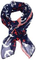 Cozy By Lulu - Nautical Navy Anchor Print Rectangle Scarf
