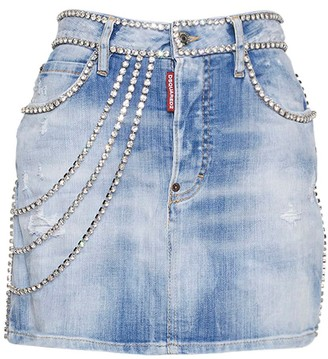 DSQUARED2 Crystals Cotton Stretch Denim Mini Skirt