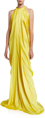 Halpern Satin-Draped Halter-Neck Gown