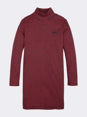 Tommy Hilfiger Stripe Turtle Neck Rib-Knit Dress