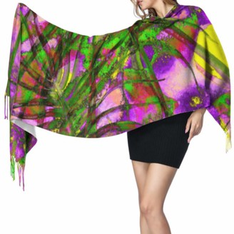 Yushg Fashion Retro Beautiful Art Line Cashmere Women Scarf Scarfs Cashmere Ladies Scarfs 77x27inch/196x68cm Large Soft Pashmina Extra Warm
