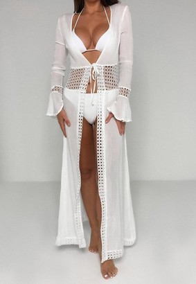 Missguided Cheesecloth Trim Insert Maxi Beach Kimono