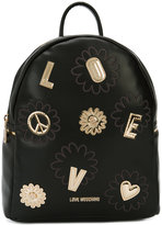 Love Moschino golden patch backpack - women - Polyurethane - One Size