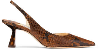 Jimmy Choo FETTO 65 Cuoio Snake Printed Asymmetric Pumps with Tortoiseshell Heel