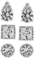 Giani Bernini 3-Pc. Set Cubic Zirconia Pavé Stud Earrings in Sterling Silver, Created for Macy's