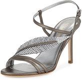 Sergio Rossi Crystal-Leaf Leather Sandal, Silver