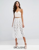 Missguided Premium Lace Full Midi Skirt