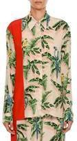 Stella McCartney Birds of Paradise Print Long-Sleeve Silk Shirt w Solid Stripe