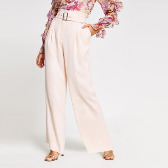 River Island Womens Petite Pink belted wide leg trousers