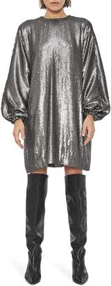 Anine Bing Angie Sequin Long Bishop Sleeve Belted Shift Dress