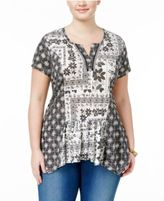 Style&Co. Style & Co Plus Size Mixed-Print Handkerchief-Hem Peasant Top, Created for Macy's