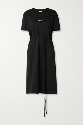 Kenzo Belted Logo-print Cotton-jersey Midi Dress - Black