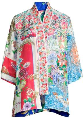 Johnny Was Floral-Print Silk Kimono