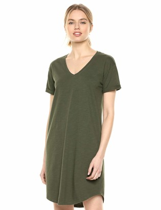 Daily Ritual Lived-In Cotton Roll-Sleeve V-Neck T-Shirt Dress Casual