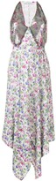 Paco Rabanne Floral Print Studded Panel Dress